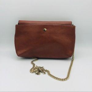 Zara Brown Faux Leather Chain Shoulder Bag